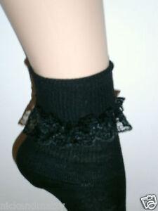2 PAIRS GIRLS-LADIES BLACK ANKLE SOCKS WITH LACE TRIM       004B