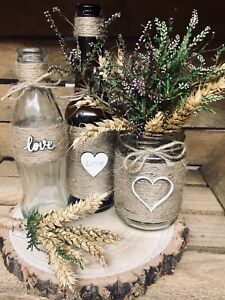 21 Pieces Rustic Style Wedding Centre Pieces bottles , table decoration boho