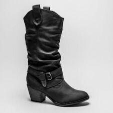 Botas de caña media de mujer de color principal negro de piel