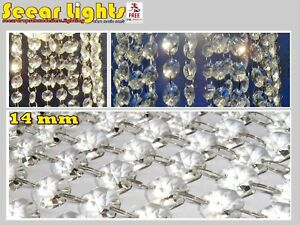 CHANDELIER LIGHT CRYSTALS DROPLETS GLASS x40 BEAD WEDDING DROPS 14MM PRISM PARTS