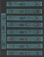US Revenues: Tobacco Taxpaid Stamps; 1 1/8 oz, Series 117; 9 Diff Cancels A7//T7