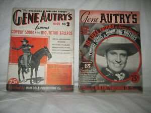 Lot of 2 Vintage 1934 & 1936 Gene Autry's famous Cowboy Songs & Mountain Ballads