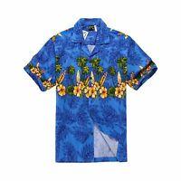 Men Tropical Hawaiian Aloha Shirt Cruise Luau Beach Party Blue Surfboards Floral