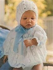 BABY KNITTING PATTERN  Matinee Coat, Bonnet and Bootees. 4ply yarn.