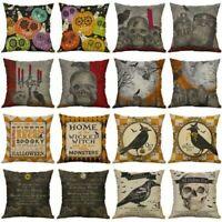 Cushion Cover Cotton Linen Pillow Case Halloween Skull Sofa Home Xmas Decor UK