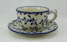 Bunzlauer Keramik Tasse mit Unterteller, Teetasse (F036-LISK) - Blumen - 0,3Ltr.