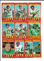 1971 Topps New York Jets Team Set with Joe Namath