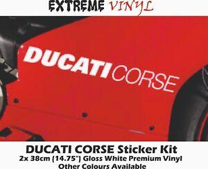 DUCATI Corse Stickers 2x 38cm Gloss White Vinyl Panigale 858 899 1098 1199 1299