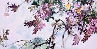 STUNNING ORIGINAL ASIAN FINE ART CHINESE WATERCOLOR PAINTING-Flower&Birds lover