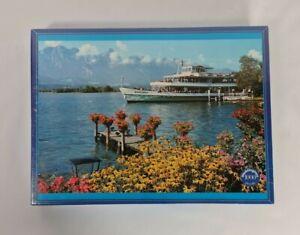 New Vintage 80's Lake Thun Switzerland Jigsaw Puzzle Blümlisalp Ship 1000 Pieces