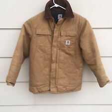 Carhartt Jacket Quilt Lined Insulated Ranch Chore Duck Canvas Brown Mens L
