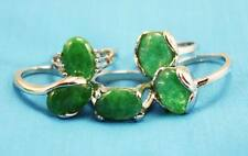 wholesale 10p Thick   Silver mixed 100% Natural Malay jade ring 6-10