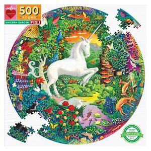 Unicorn Garden 500 Piece Round Puzzle by eeBoo