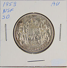 CANADA: 1953 - NSF SMALL DATE - 50 Cents Silver Coin - Graded AU