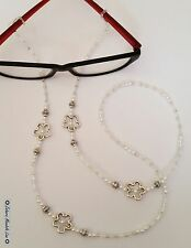 Pearls & Silver Eye Glasses Holder Necklace Lanyard HANDMADE, Fashion Accessory