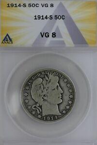 1914-S  .50  ANACS    VG 8   Barber Half Dollar, Liberty Head Half, 50 Cents