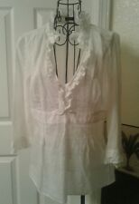 J. CREW White Sheer Ruffle Top Blouse Size S/M
