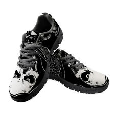 Skull Printed Mens Platform Sneakers Lace Up Casual Running Shoes Black Punk