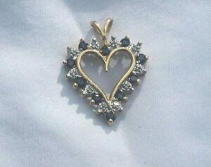 10K Yellow Gold SAPPHIRE & DIAMOND HEART PENDANT