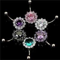 Acero quirurgico Botón Joyas Body piercing Flor de cristal Anillo de ombligo