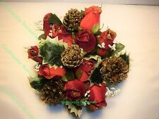 ARTIFICIAL RED ROSE GYP & CONES CHRISTMAS GRAVE VASE/CREM POT OR TABLE CENTRE