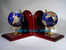 "7"" Tall pair of Blue Lapis Ocean wood base Gemstone Globe Bookend"