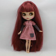 Blythe Nude Doll from Factory joints Body wine red long hair free shipping new