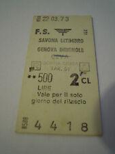 BIGLIETTO TRENO CARTONATO 1981 SAVONA LETIMBRO - GENOVA BRIGNOLE CEVA 4-230/1