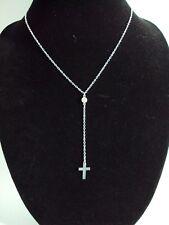 Cross Necklace Rhinestone Y Lariat CZ Drop Simple Dainty Delicate Gold Silver