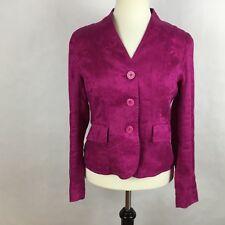 Jones New York Women Blazer Size 8P Magenta Pink Long Sleeve V-neck 100% Linen