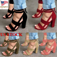 Women Lace-Ups Block High Heel Ankle Strap Sandals Ladies Open Toe Casual Shoes