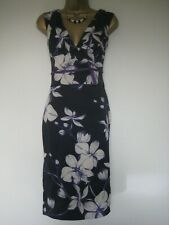 Karen Millen black satin floral dress size 8