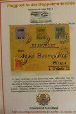 1918 Luftpost-Teilbriefhülle der kuk Monarchie Lemberg - Wien