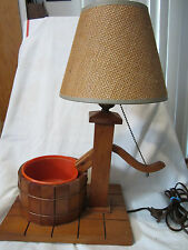 Vintage Wooden Well Pump Lamp Cottage Farm Rustic Decor Wishing Well w Basin