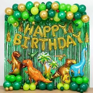 Dinosaur Birthday Party Decorations&Balloons Arch Garland Kit(Gold,Green),Din...