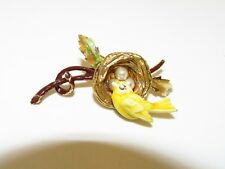 VTG Signed FLORENZA Yellow Bird on Nest Simulated Pearl Eggs Trembler Pin