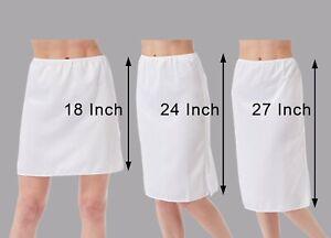 """White Satin Waist Slip Petticote Underskirt 18"""" 24"""" 27"""" Long Short Knee Length"""