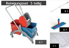 RMV Doppelfahrwagen Wischwagen Wischset Klapphalter Stiel & 2 x Moppbezug 50 cm