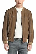 $995 Hugo Boss Orange 'Jarren' Size 38R (48 EU) Goatskin Leather Jacket in Brown