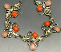 Pale Pink Orange  Glass Rhinestone  Link Gold Statement Necklace 16 Inches