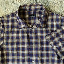 APC Mens Small Plaid Short Sleeve Shirt Button Front Cotton S