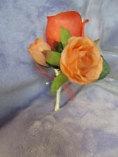 USA Coral Peach Ivory silk flower rose bud corsage Boutonniere Bridal Prom