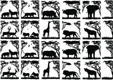"""African Animals Trees 5""""X7"""" Card Fused Glass Black Decals 14CC394"""