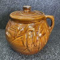 Vintage McCoy Bean Pod Soup Pot Cookie Jar 1940s Amber Golden Brown