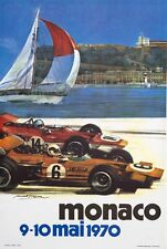 Monaco Grand Prix 1970  on linen by Michael Turner VINTAGE FRENCH RACE POSTER