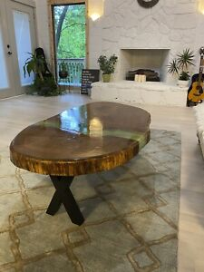 Absolutely unique epoxy river coffee table Live edge Handmade art.