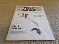 VINTAGE 1987 WEED EATER OPERATORS MANUAL MODEL XR-20 POULAN