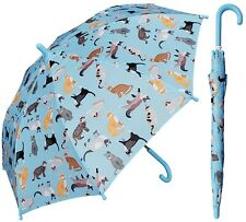 "32"" Arc Children Kid Kitty Cat Print Blue Umbrella - RainStoppers Rain/Sun UV"