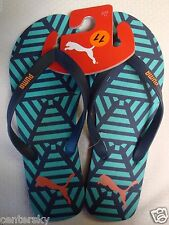 New Puma Men's Flip Flops Thong Sandals Beach Surf Swim Blue Size 12