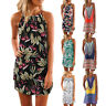 Women Boho Summer Casual Beach Floral Print Strap Sleeveless Mini Dress Sundress